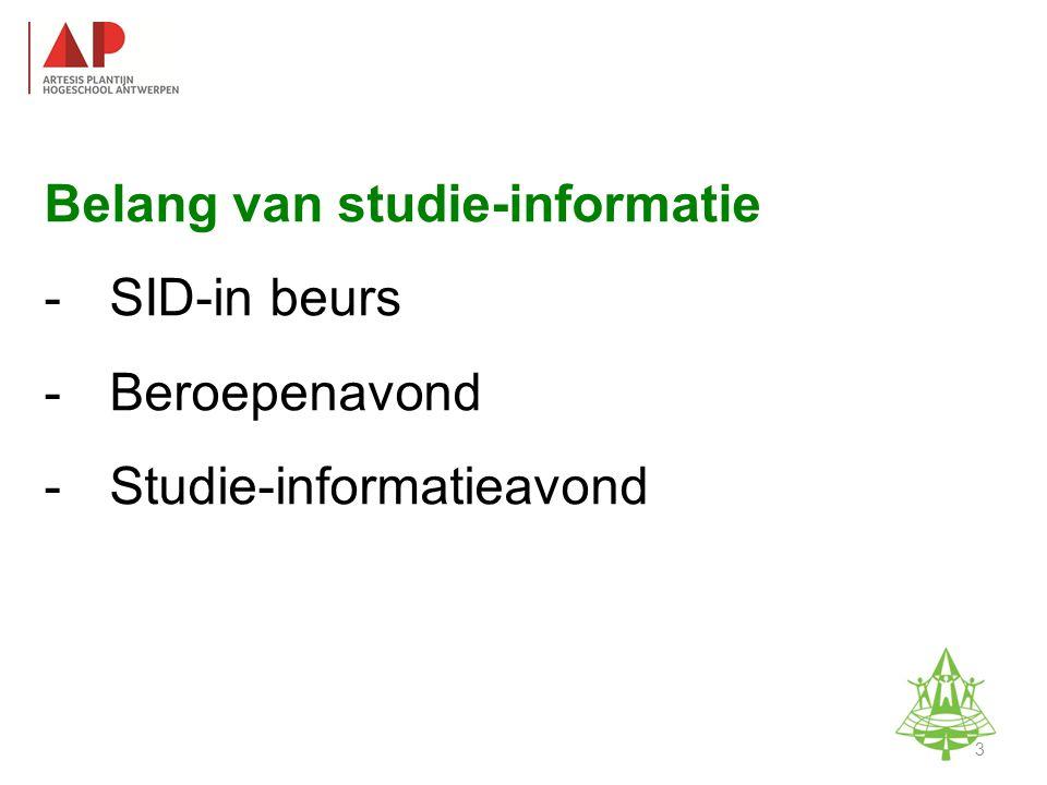 Belang van studie-informatie -SID-in beurs -Beroepenavond -Studie-informatieavond Studie-informatieavond K.