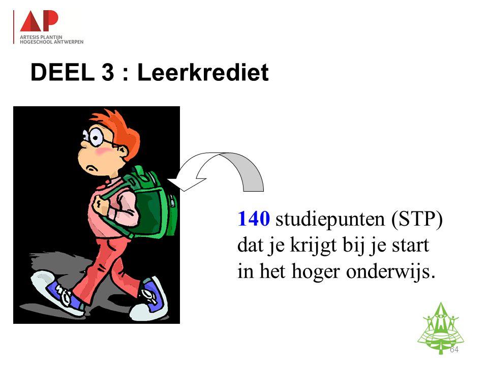 DEEL 3 : Leerkrediet 140 studiepunten (STP) dat je krijgt bij je start in het hoger onderwijs.