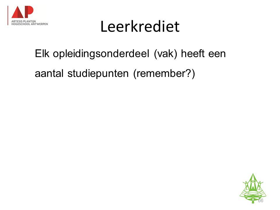 Elk opleidingsonderdeel (vak) heeft een aantal studiepunten (remember ) Leerkrediet 66