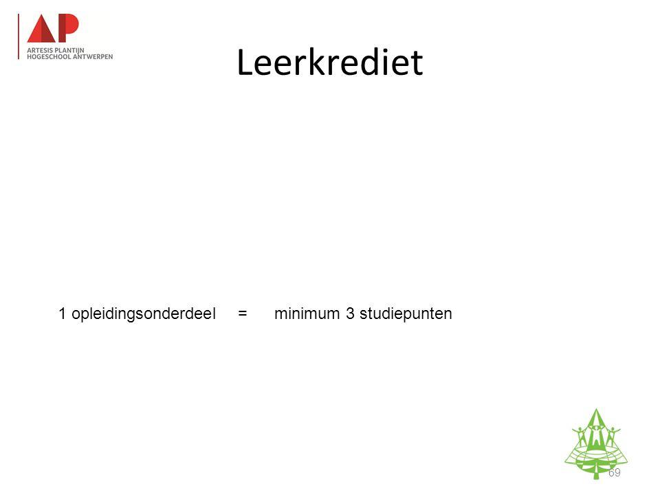 1 opleidingsonderdeel=minimum 3 studiepunten Studie-informatieavond K.