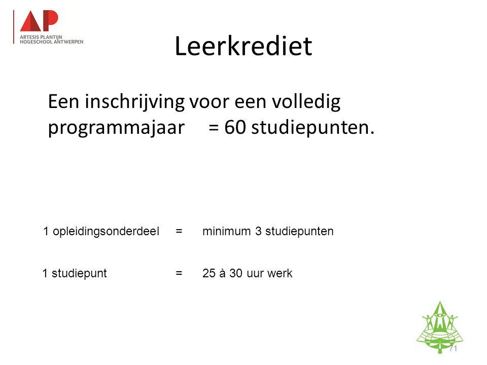 1 opleidingsonderdeel=minimum 3 studiepunten 1 studiepunt=25 à 30 uur werk Studie-informatieavond K.