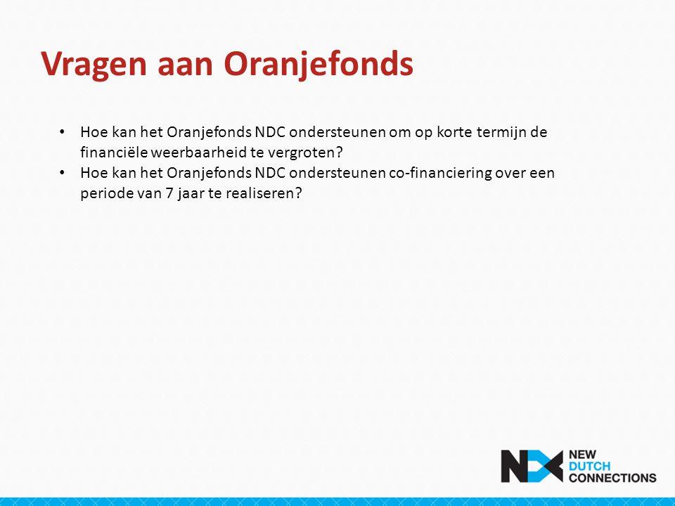 Vragen aan Oranjefonds • Hoe kan het Oranjefonds NDC ondersteunen om op korte termijn de financiële weerbaarheid te vergroten.