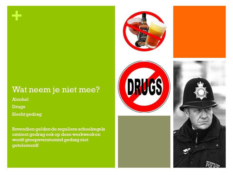 + Wat neem je niet mee? Alcohol Drugs Slecht gedrag Bovendien gelden de reguliere schoolregels omtrent gedrag ook op deze werkweek en wordt groepsvers