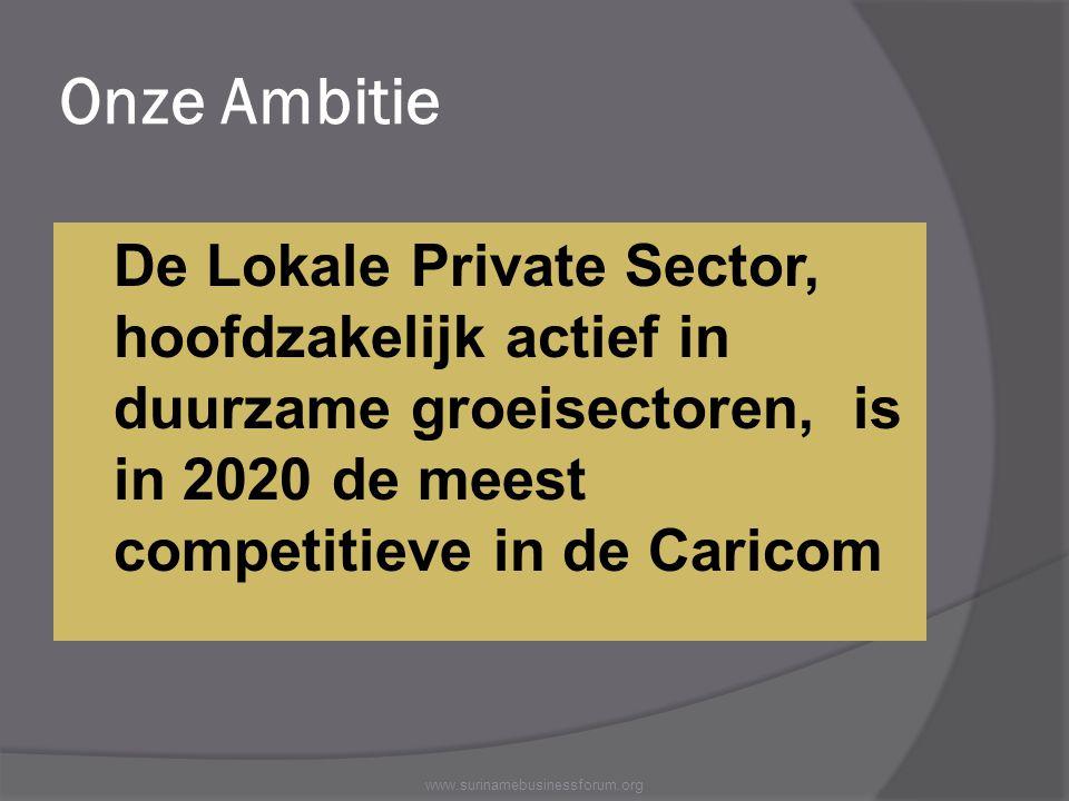 Onze Ambitie De Lokale Private Sector, hoofdzakelijk actief in duurzame groeisectoren, is in 2020 de meest competitieve in de Caricom www.surinamebusi