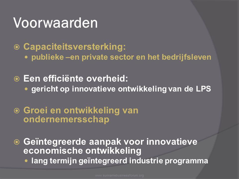 Voorwaarden  Capaciteitsversterking:  publieke –en private sector en het bedrijfsleven  Een efficiënte overheid:  gericht op innovatieve ontwikkel