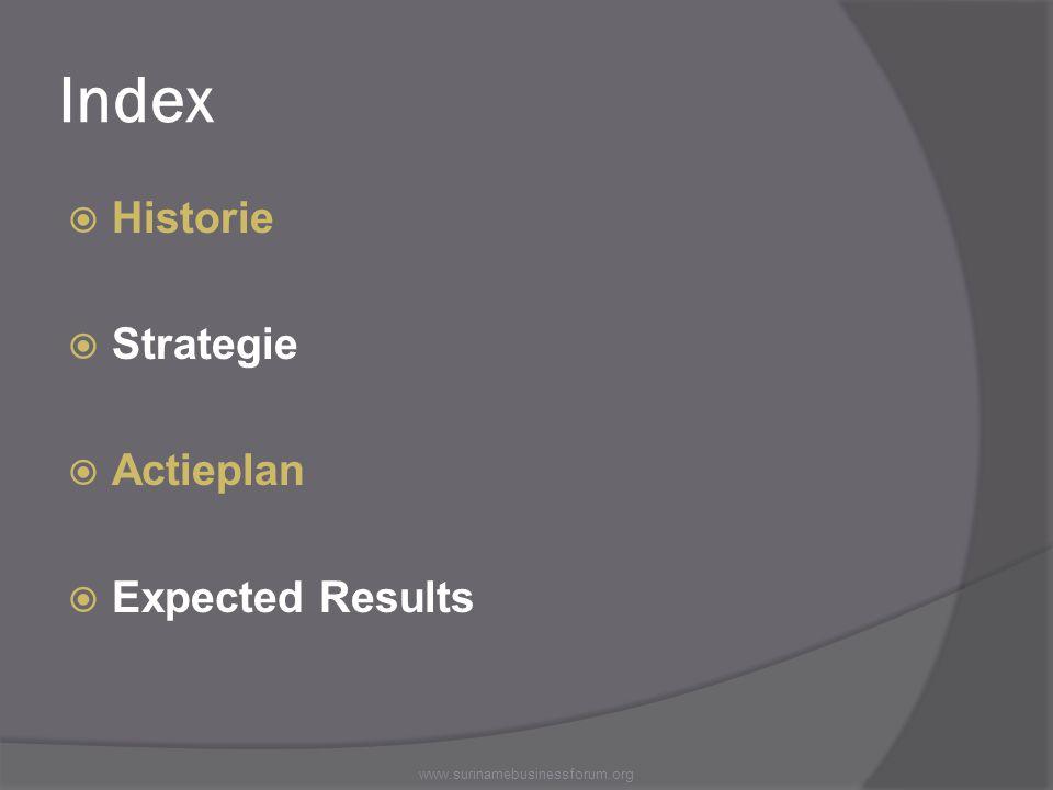 Index  Historie  Strategie  Actieplan  Expected Results www.surinamebusinessforum.org