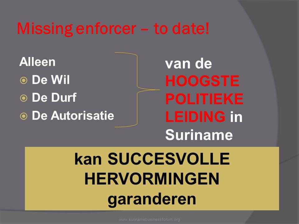 Missing enforcer – to date! Alleen  De Wil  De Durf  De Autorisatie www.surinamebusinessforum.org van de HOOGSTE POLITIEKE LEIDING in Suriname kan