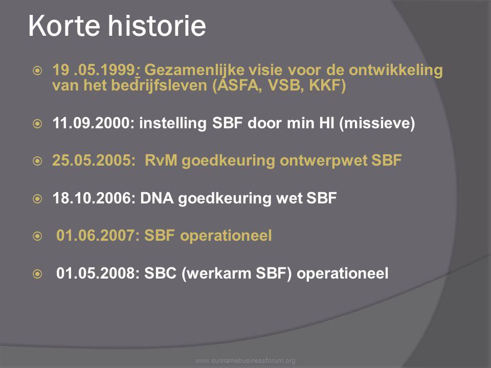 Korte historie  19.05.1999: Gezamenlijke visie voor de ontwikkeling van het bedrijfsleven (ASFA, VSB, KKF)  11.09.2000: instelling SBF door min HI (