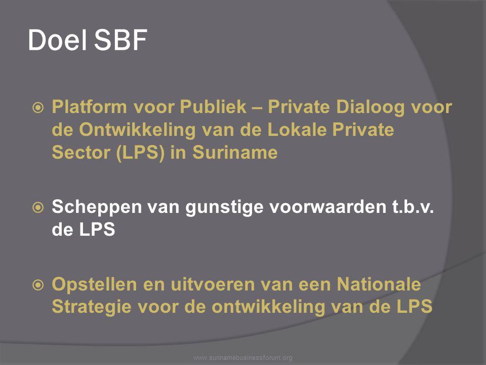 Doel SBF  Platform voor Publiek – Private Dialoog voor de Ontwikkeling van de Lokale Private Sector (LPS) in Suriname  Scheppen van gunstige voorwaa