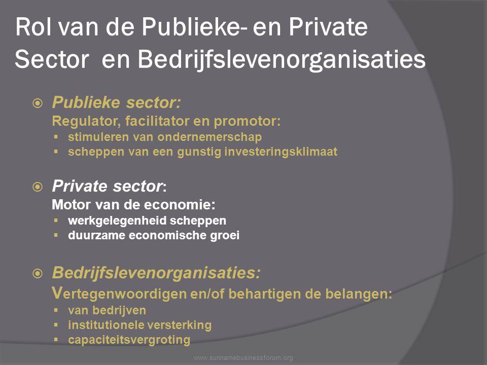 Rol van de Publieke- en Private Sector en Bedrijfslevenorganisaties  Publieke sector: Regulator, facilitator en promotor:  stimuleren van ondernemer