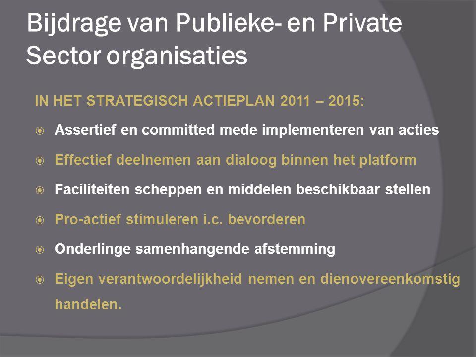 IN HET STRATEGISCH ACTIEPLAN 2011 – 2015:  Assertief en committed mede implementeren van acties  Effectief deelnemen aan dialoog binnen het platform