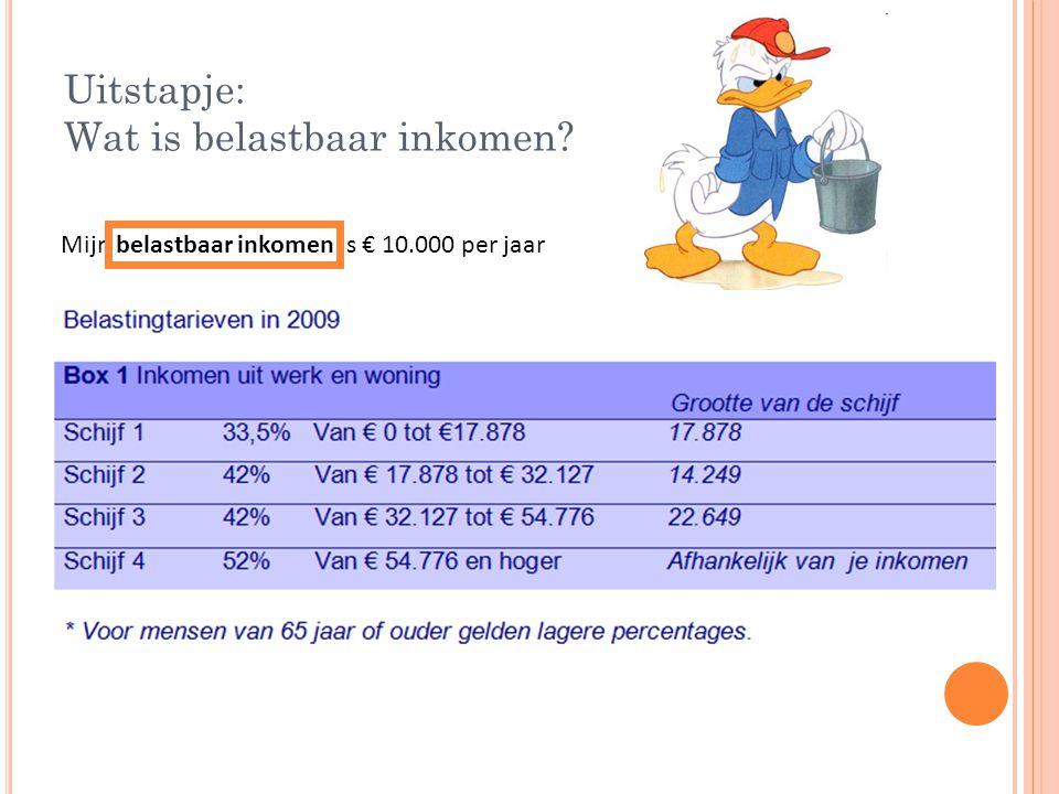 Uitstapje: Wat is belastbaar inkomen? Mijn belastbaar inkomen is € 10.000 per jaar