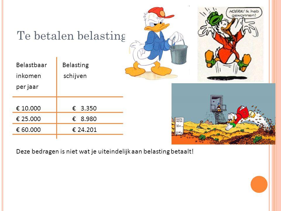 Te betalen belasting Belastbaar Belasting inkomen schijven per jaar € 10.000€ 3.350 € 25.000 € 8.980 € 60.000€ 24.201 Deze bedragen is niet wat je uiteindelijk aan belasting betaalt!