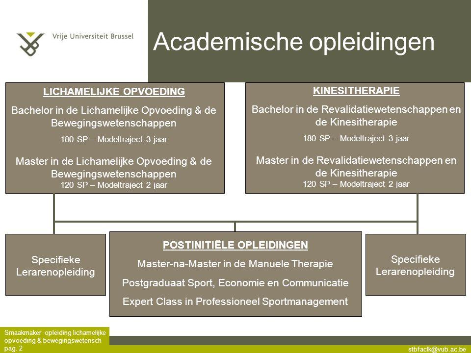 stbfaclk@vub.ac.be Smaakmaker opleiding lichamelijke opvoeding & bewegingswetensch pag. 2 Specifieke Lerarenopleiding POSTINITIËLE OPLEIDINGEN Master-