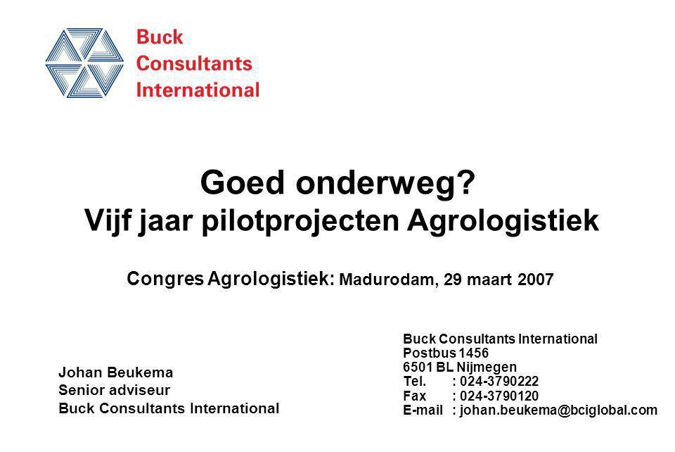 Goed onderweg? Vijf jaar pilotprojecten Agrologistiek Buck Consultants International Postbus 1456 6501 BL Nijmegen Tel.: 024-3790222 Fax: 024-3790120
