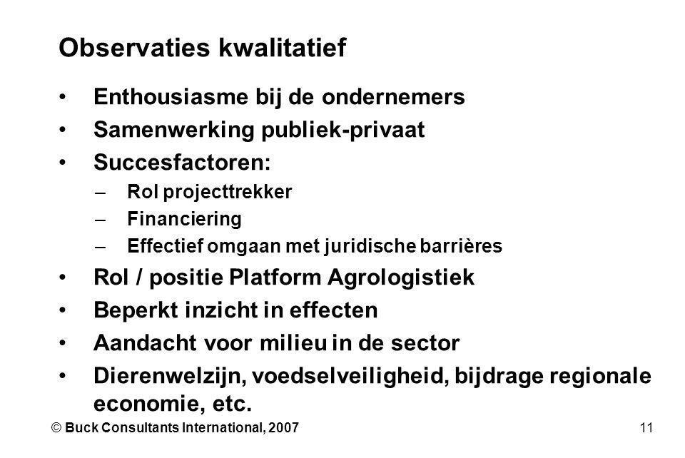 11© Buck Consultants International, 2007 Observaties kwalitatief •Enthousiasme bij de ondernemers •Samenwerking publiek-privaat •Succesfactoren: –Rol