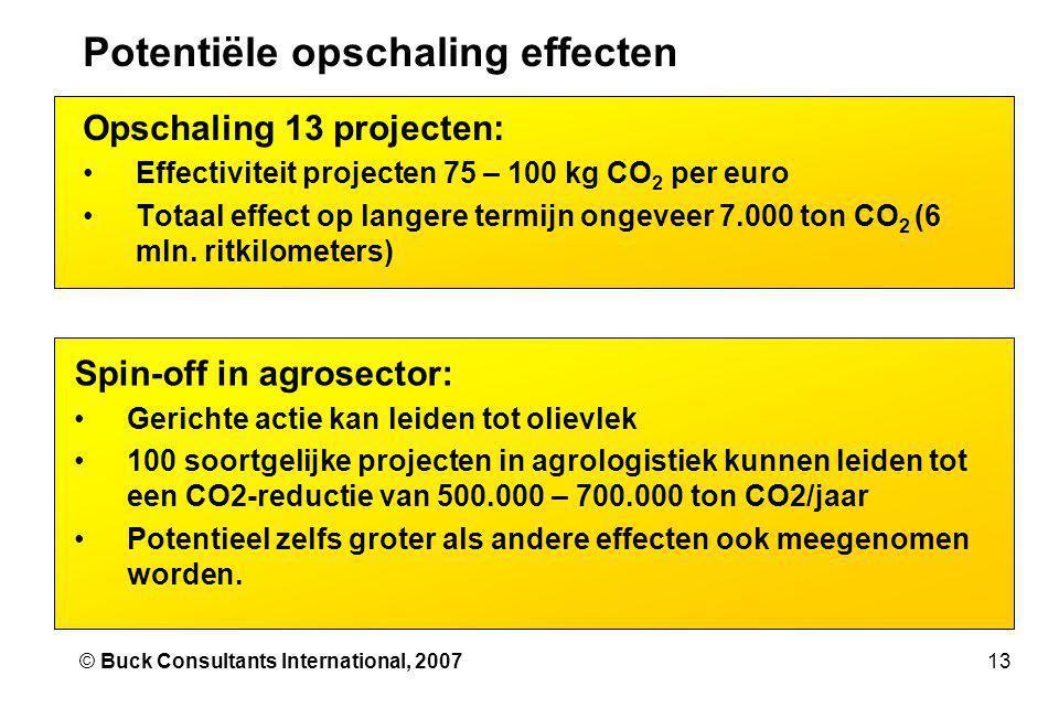 13© Buck Consultants International, 2007 Potentiële opschaling effecten Opschaling 13 projecten: •Effectiviteit projecten 75 – 100 kg CO 2 per euro •Totaal effect op langere termijn ongeveer 7.000 ton CO 2 (6 mln.