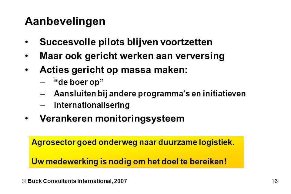 16© Buck Consultants International, 2007 Aanbevelingen •Succesvolle pilots blijven voortzetten •Maar ook gericht werken aan verversing •Acties gericht