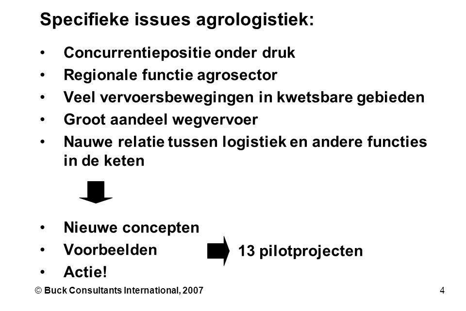 4© Buck Consultants International, 2007 Specifieke issues agrologistiek: •Concurrentiepositie onder druk •Regionale functie agrosector •Veel vervoersb
