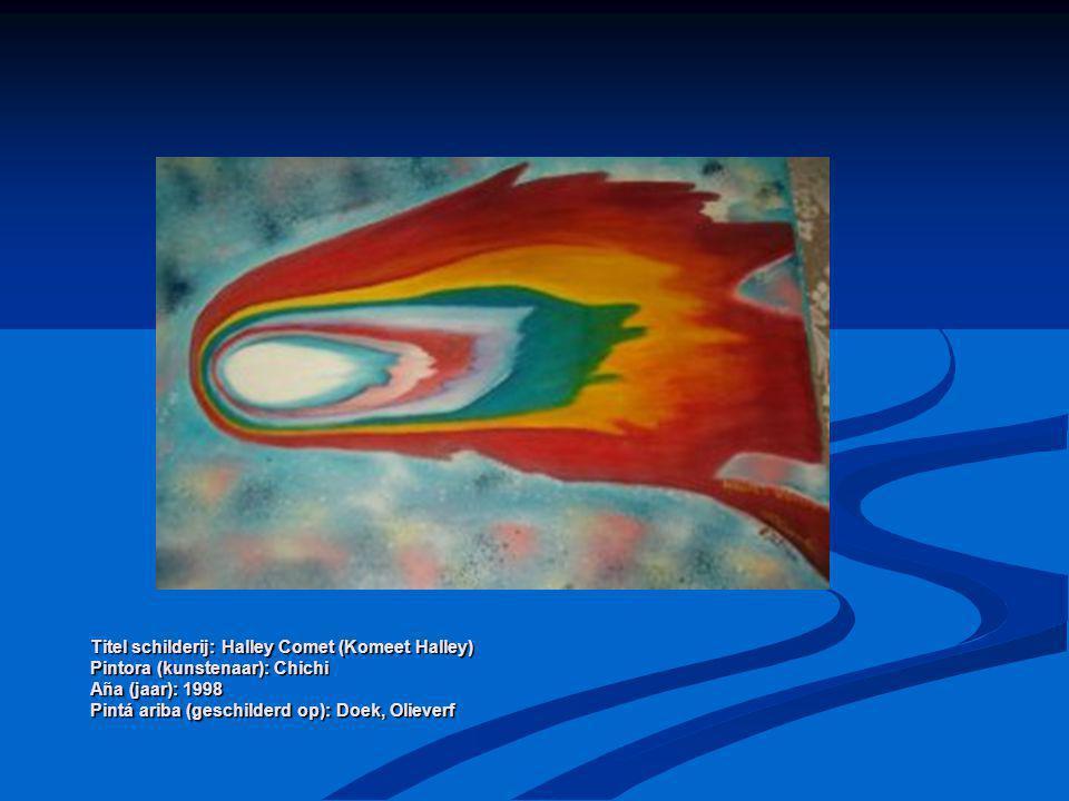 Titel schilderij: Halley Comet (Komeet Halley) Pintora (kunstenaar): Chichi Aña (jaar): 1998 Pintá ariba (geschilderd op): Doek, Olieverf