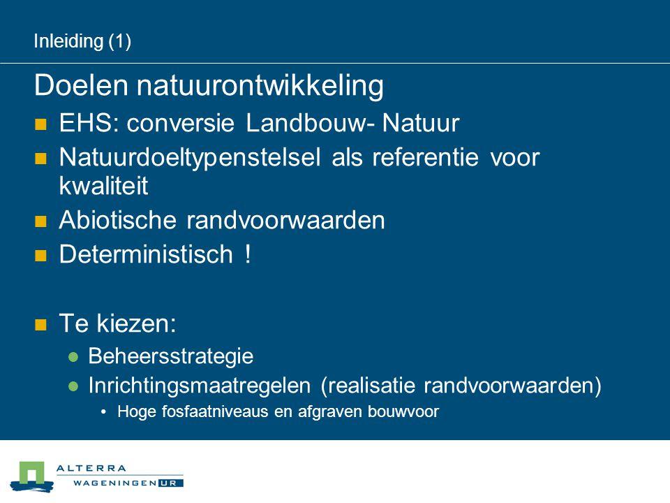 Inleiding (1) Doelen natuurontwikkeling  EHS: conversie Landbouw- Natuur  Natuurdoeltypenstelsel als referentie voor kwaliteit  Abiotische randvoorwaarden  Deterministisch .