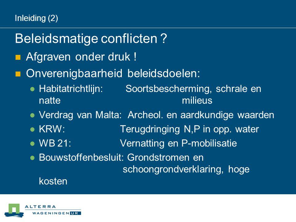 Inleiding (2) Beleidsmatige conflicten ?  Afgraven onder druk !  Onverenigbaarheid beleidsdoelen:  Habitatrichtlijn: Soortsbescherming, schrale en