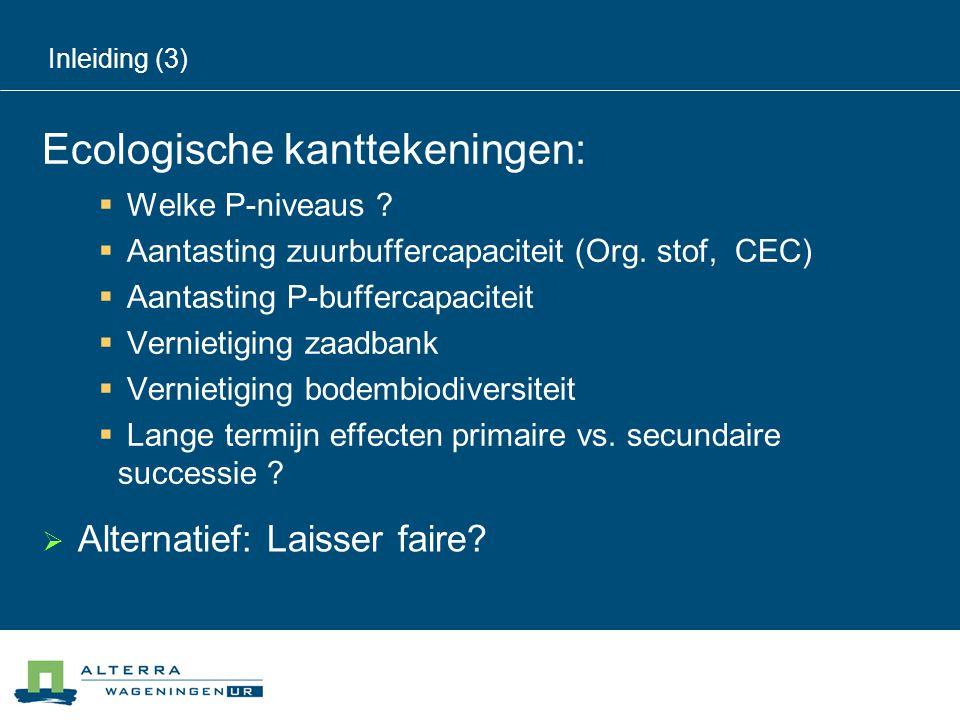Inleiding (3) Ecologische kanttekeningen:  Welke P-niveaus ?  Aantasting zuurbuffercapaciteit (Org. stof, CEC)  Aantasting P-buffercapaciteit  Ver