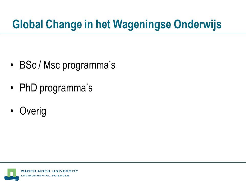 BSc / MSc Programma's Stand van zaken •Onderwijsprogramma's zijn in ontwikkeling •Globale opzet: –BSc: drie jaar (laatste jaar specialisatie) –MSc: twee jaar (specialisatie, major) •Huidige programma's zijn opgestart in 2000/2001 (tweede jaar loopt nu) •De vakken zijn ontwikkeld t/m het tweede jaar •Het vakkenaanbod voor het derde (BSc) jaar staat vast, maar veel vakken moeten nog ingevuld ontwikkeld worden •De MSc programma's (4e en 5e jaar) zijn op hoofdlijnen ingevuld •Momenteel lopen ook oude programma's (studenten gestart voor 2000)