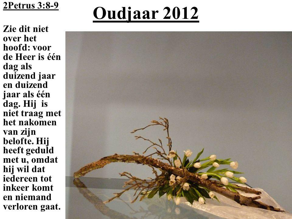 Oudjaar 2012 2Petrus 3:8-9 Zie dit niet over het hoofd: voor de Heer is één dag als duizend jaar en duizend jaar als één dag. Hij is niet traag met he
