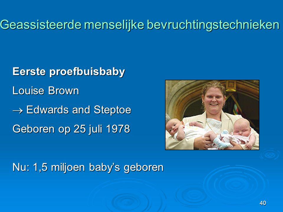 40 Geassisteerde menselijke bevruchtingstechnieken Geassisteerde menselijke bevruchtingstechnieken Eerste proefbuisbaby Louise Brown  Edwards and Steptoe Geboren op 25 juli 1978 Nu: 1,5 miljoen baby's geboren