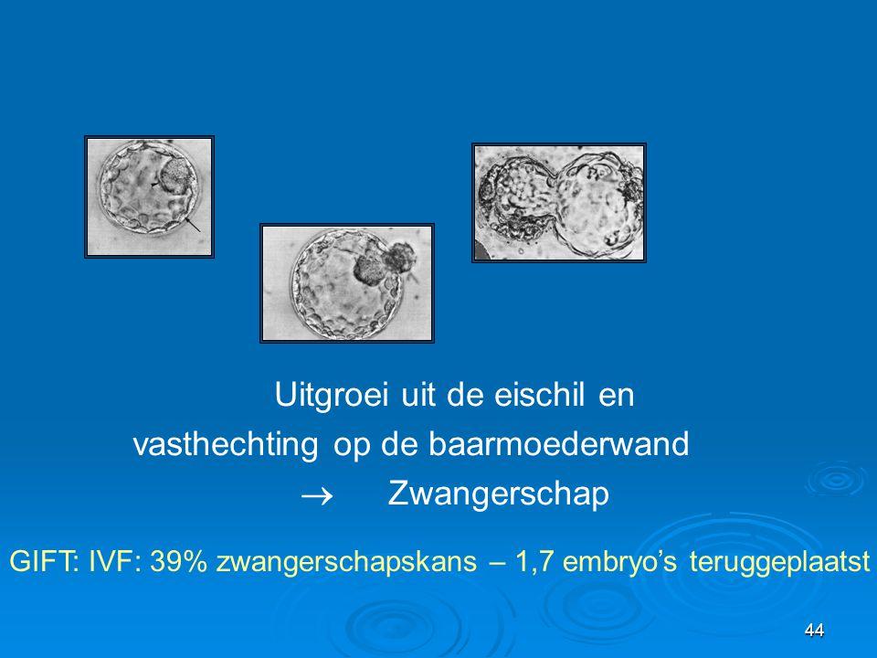 44 Uitgroei uit de eischil en vasthechting op de baarmoederwand  Zwangerschap GIFT: IVF: 39% zwangerschapskans – 1,7 embryo's teruggeplaatst