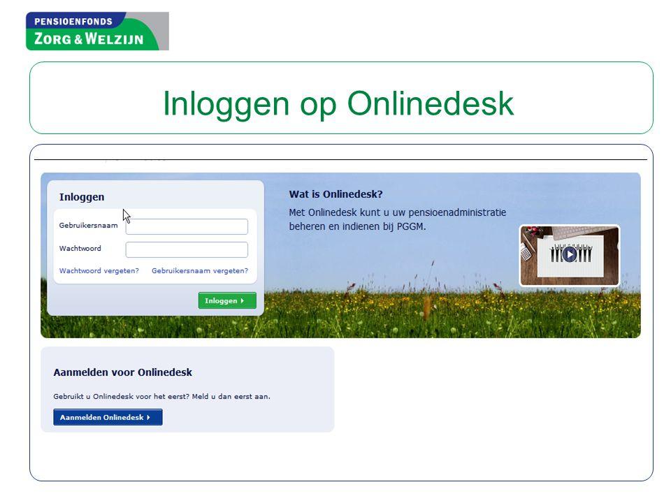 Inloggen op Onlinedesk