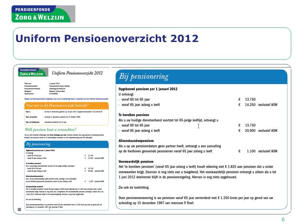 6 Uniform Pensioenoverzicht 2012
