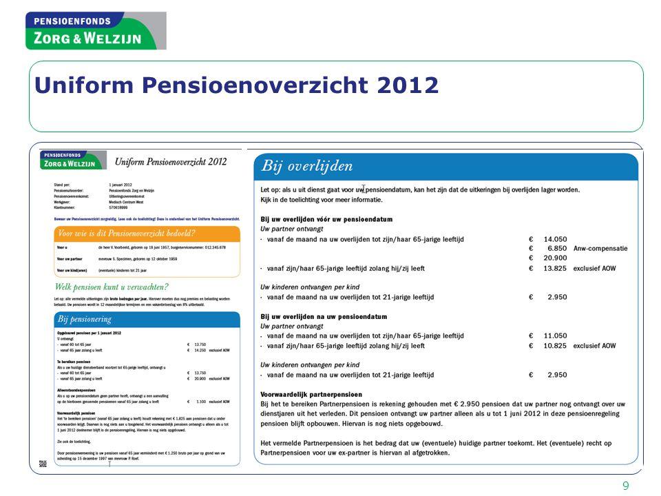 9 Uniform Pensioenoverzicht 2012