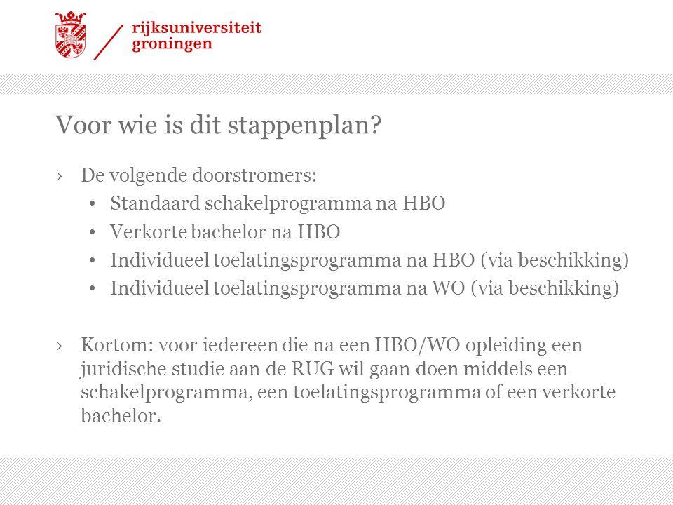 Voor wie is dit stappenplan? ›De volgende doorstromers: • Standaard schakelprogramma na HBO • Verkorte bachelor na HBO • Individueel toelatingsprogram