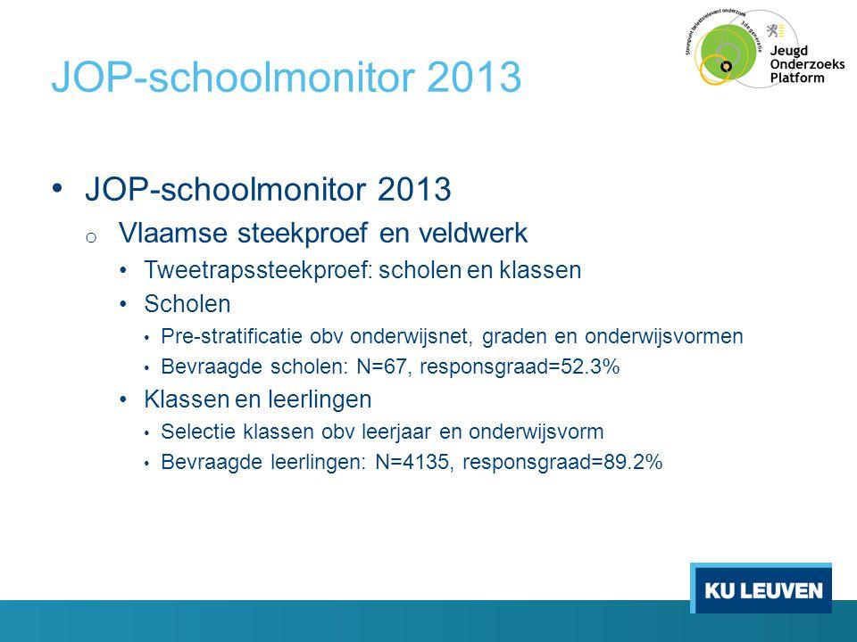 JOP-schoolmonitor 2013 • JOP-schoolmonitor 2013 o Vlaamse steekproef en veldwerk •Tweetrapssteekproef: scholen en klassen •Scholen • Pre-stratificatie