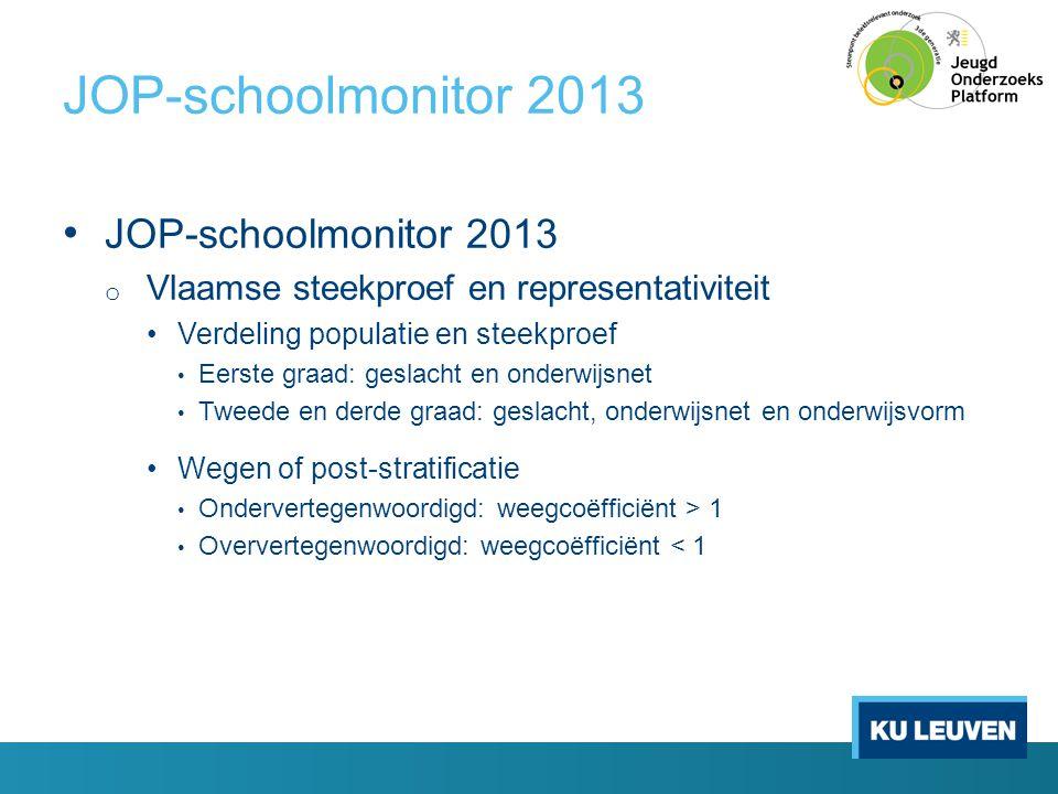 JOP-schoolmonitor 2013 • JOP-schoolmonitor 2013 o Vlaamse steekproef en representativiteit •Verdeling populatie en steekproef • Eerste graad: geslacht