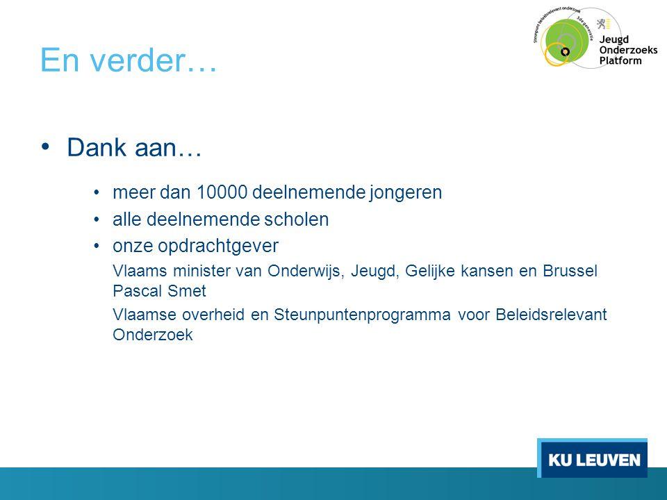 En verder… • Dank aan… •meer dan 10000 deelnemende jongeren •alle deelnemende scholen •onze opdrachtgever Vlaams minister van Onderwijs, Jeugd, Gelijk