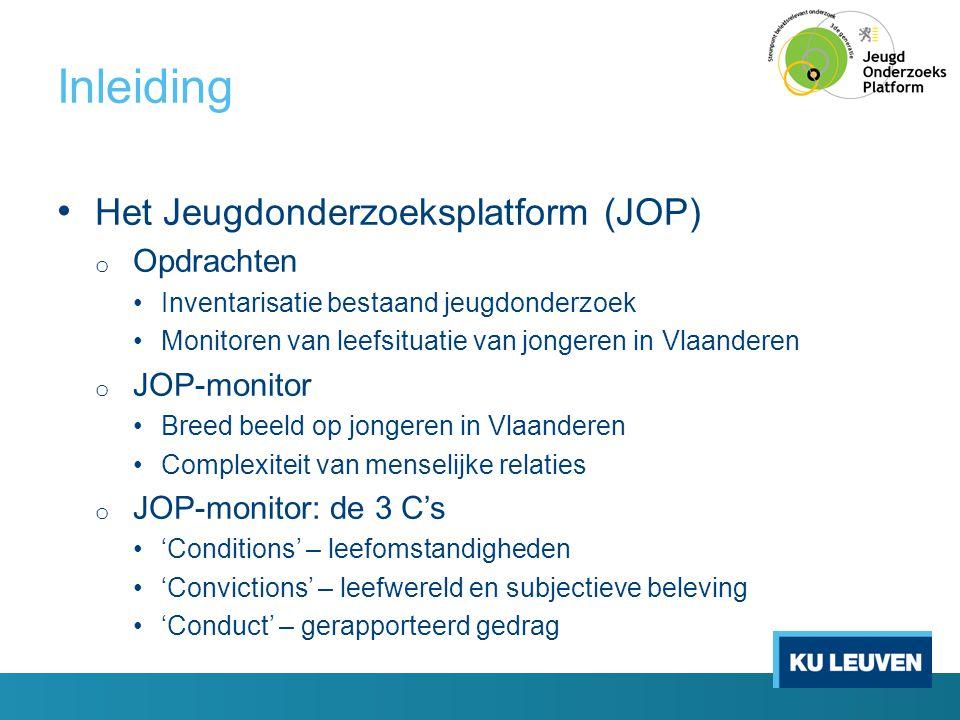 Inleiding • Het Jeugdonderzoeksplatform (JOP) o Opdrachten •Inventarisatie bestaand jeugdonderzoek •Monitoren van leefsituatie van jongeren in Vlaande