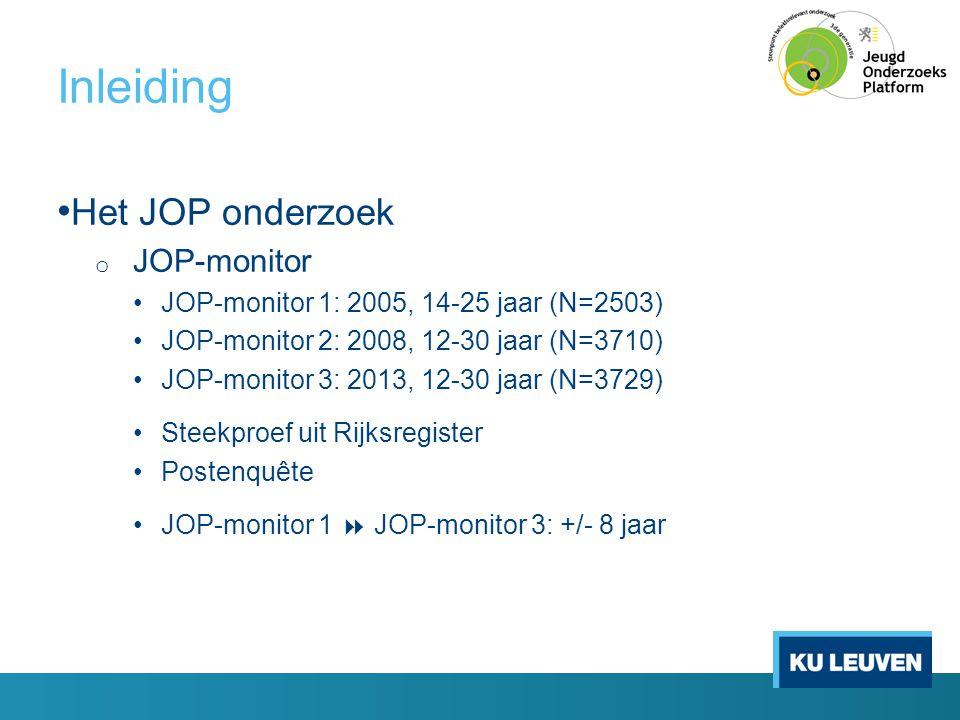 Inleiding • Het JOP onderzoek o JOP-schoolmonitor •JOP-schoolmonitor Brussel: 2010, 12-18 jaar (N=2502) •JOP-schoolmonitor Antwerpen-Gent: 2012, 12-18 jaar (N=3867) •JOP-schoolmonitor 2013: 12-18 jaar • Vlaanderen (N=4135) • Brussel, Antwerpen, Gent (N=2548) •Tweetrapssteekproef: scholen en klassen •Schoolenquête •JOP-schoolmonitor 2013  JOP-monitor 3