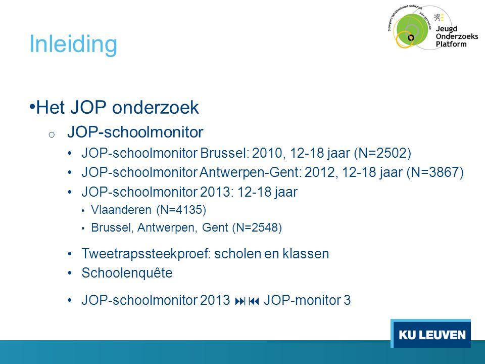 Inleiding • Het JOP onderzoek o JOP-schoolmonitor •JOP-schoolmonitor Brussel: 2010, 12-18 jaar (N=2502) •JOP-schoolmonitor Antwerpen-Gent: 2012, 12-18