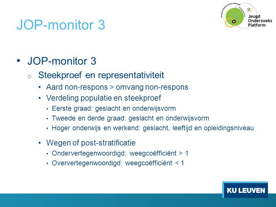 JOP-monitor 3 • JOP-monitor 3 o Steekproef en representativiteit •Aard non-respons > omvang non-respons •Verdeling populatie en steekproef • Eerste gr