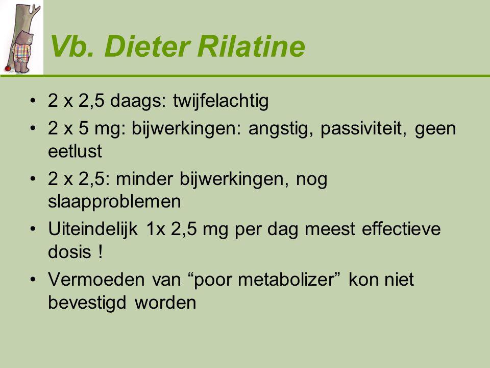 Vb. Dieter Rilatine •2 x 2,5 daags: twijfelachtig •2 x 5 mg: bijwerkingen: angstig, passiviteit, geen eetlust •2 x 2,5: minder bijwerkingen, nog slaap