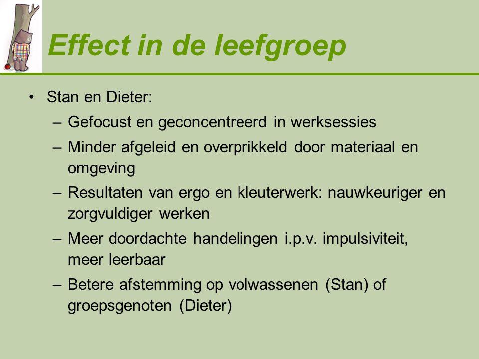 Effect in de leefgroep •Stan en Dieter: –Gefocust en geconcentreerd in werksessies –Minder afgeleid en overprikkeld door materiaal en omgeving –Result