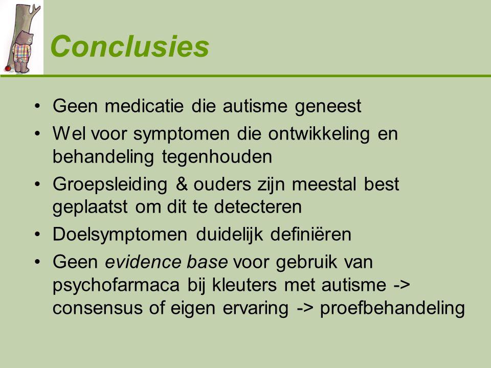 Conclusies •Geen medicatie die autisme geneest •Wel voor symptomen die ontwikkeling en behandeling tegenhouden •Groepsleiding & ouders zijn meestal be