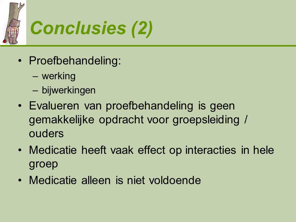 Conclusies (2) •Proefbehandeling: –werking –bijwerkingen •Evalueren van proefbehandeling is geen gemakkelijke opdracht voor groepsleiding / ouders •Me
