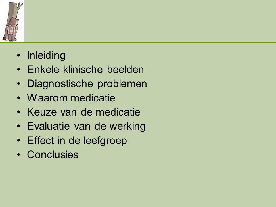 •Inleiding •Enkele klinische beelden •Diagnostische problemen •Waarom medicatie •Keuze van de medicatie •Evaluatie van de werking •Effect in de leefgr