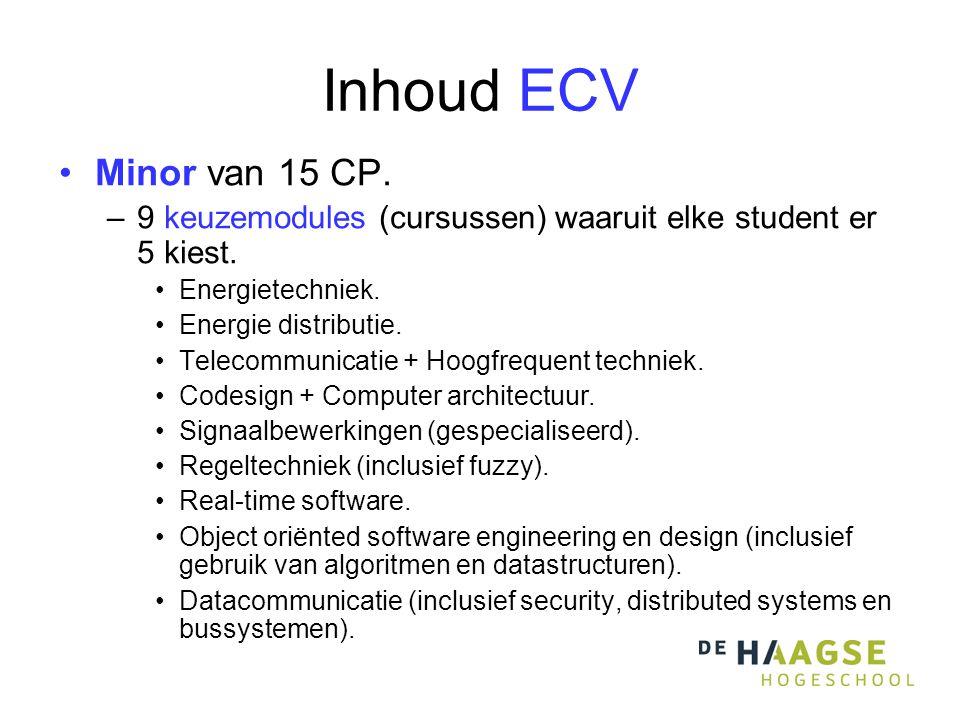Inhoud ECV •Minor van 15 CP. –9 keuzemodules (cursussen) waaruit elke student er 5 kiest.