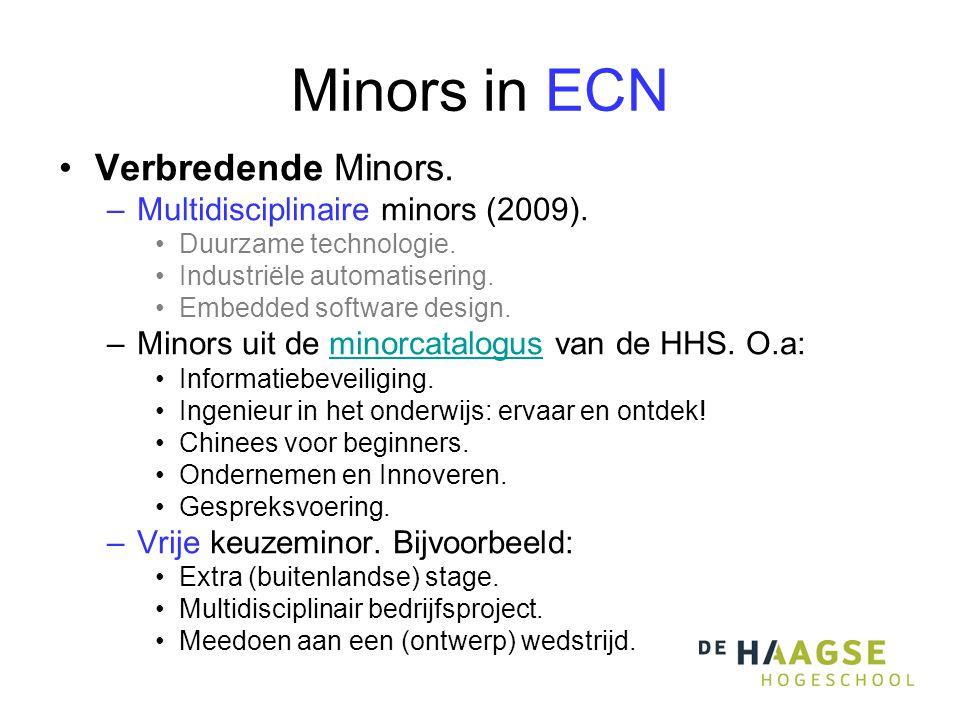 Minors in ECN •Verbredende Minors. –Multidisciplinaire minors (2009).