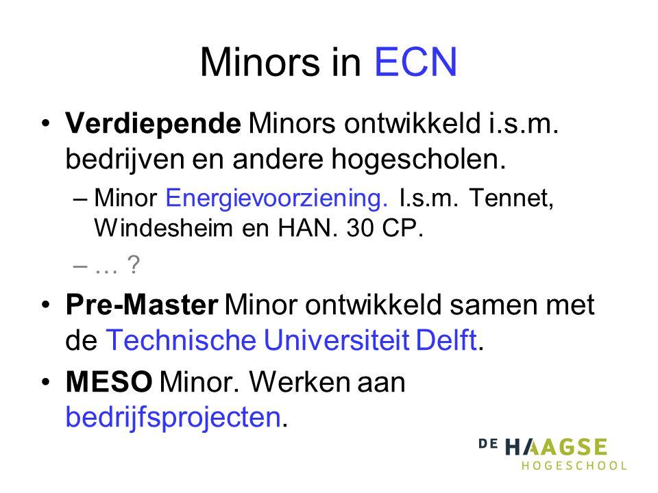 Minors in ECN •Verdiepende Minors ontwikkeld i.s.m.